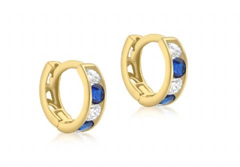 9ct Yellow Gold Available  in Three Colours Stone Set Huggy Hoop Earring    9219